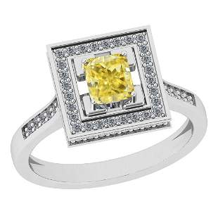 Certified 1.07 Ct Natural Fancy Yellow And White Diamon