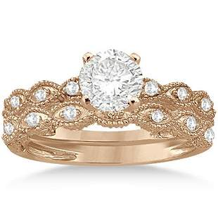 Antique style Diamond Engagement Ring Set 14k Rose Gold