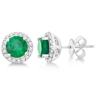 Ladies Emerald and Diamond Halo Stud Earrings in 14k wh