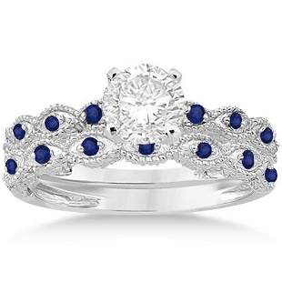 Antique style Blue Sapphire Engagement Ring Set 14k Whi