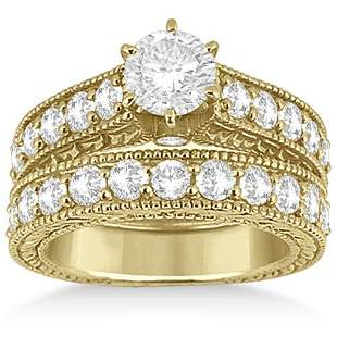 Antique style Diamond Wedding and Engagement Ring Set 1
