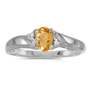 Sterling Silver Oval Citrine And Diamond Ring 0.33 CTW