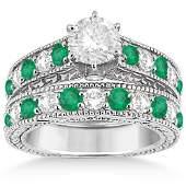 Antique style Diamond and Emerald Bridal Ring Set 18k W