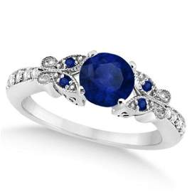 Butterfly Blue Sapphire and Diamond Engagement Ring 14K