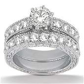 Antique style Diamond Engagement Ring and Wedding Band
