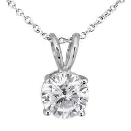 1.00ctw. Round Diamond Solitaire Pendant in 18k White G
