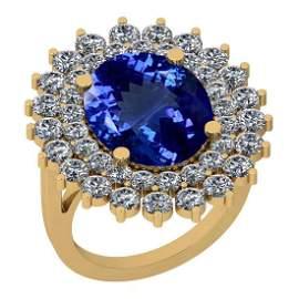 Certified 7.10 Ctw VS/SI1 Tanzanite And Diamond 14K Yel