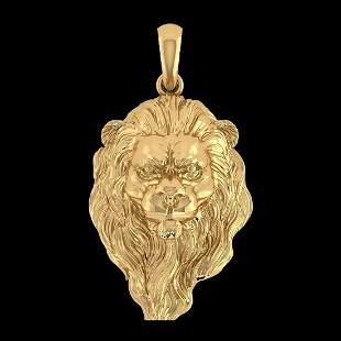 Lion Pendant 14K Yellow Gold