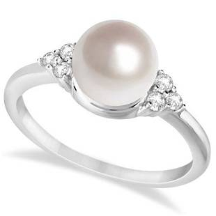 Freshwater Cultured Pearl and Diamond Accented Ring 14K