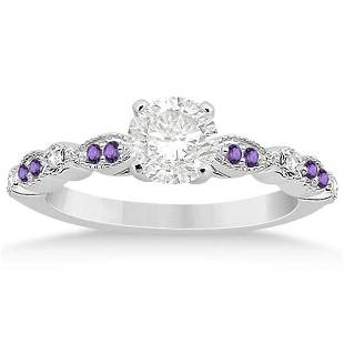 Marquise and Dot Diamond Amethyst Engagement Ring 14k W