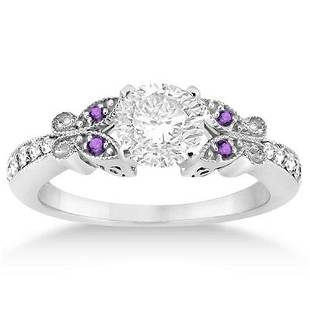 Butterfly Diamond and Amethyst Engagement Ring 14k Whit