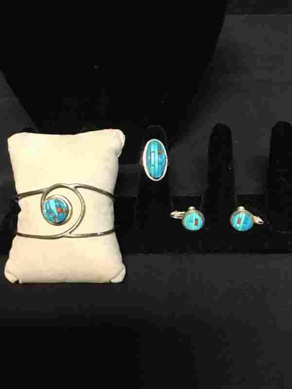 925 Sterling silver bracelet,Ring and screw on earrings