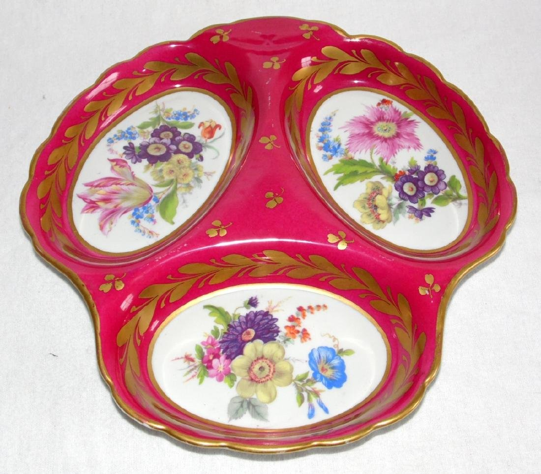 Antique Limoges Porcelain 3 Section Serving  Dish/Tray