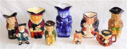 Vintage Collection of Pottery Toby Jugs to  Include