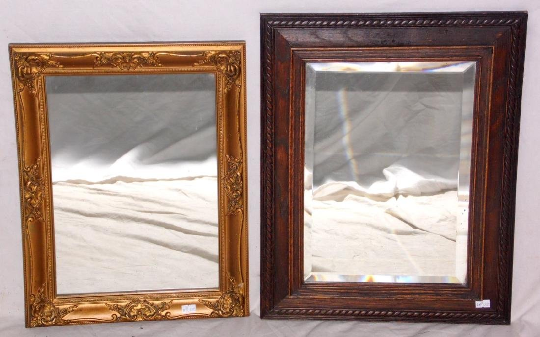 Arts & Crafts Carved Oak Bevelled Wall Mirror  19 x 15