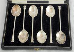 Cased Set of 6 Sterling Silver Seal Top  Coffee Spoons
