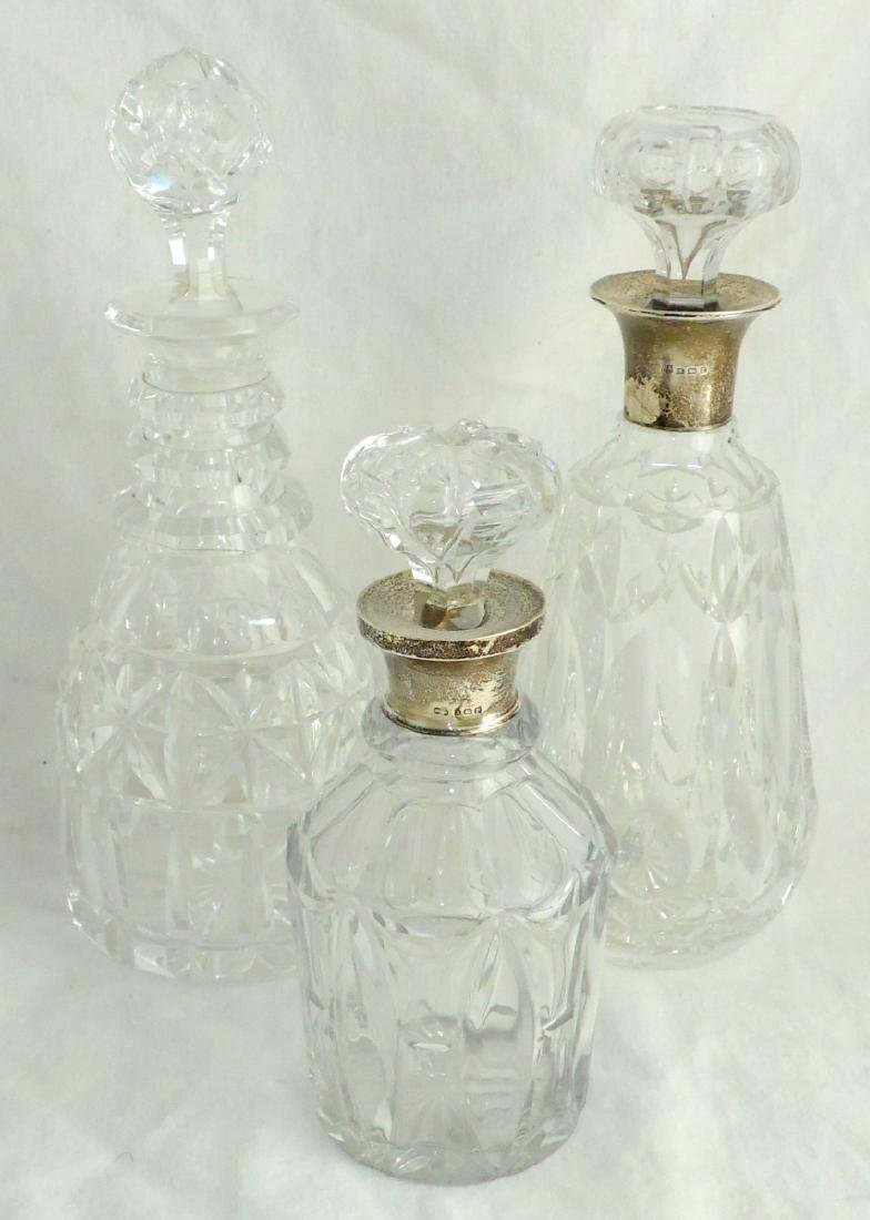 Two Sterling Silver Mounted Mallet Shape  Decanters by