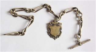 Victorian Sterling Silver Albert Pocket Watch  Chain by