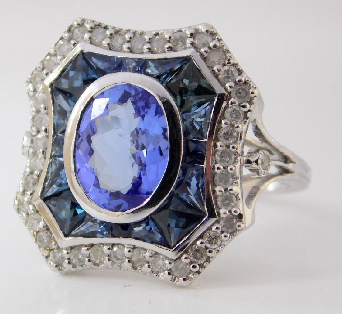 Art Deco Style Tanzanite,Sapphire and Diamond  Ladies