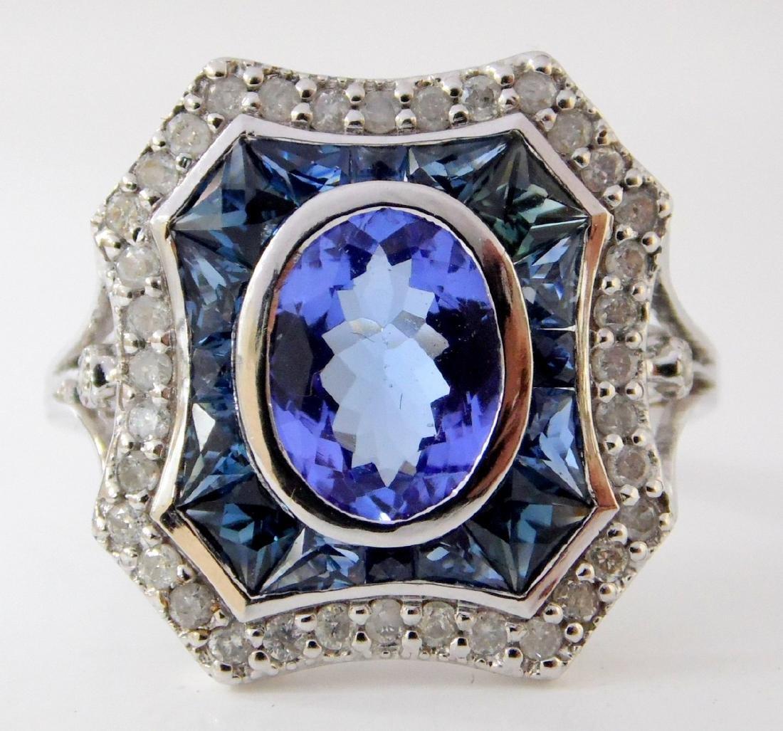 Art Deco Style Tanzanite,Sapphire and Diamond  Ladies - 2