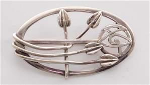 "Charles Rennie Mackintosh Style Silver""Tulips Brooch"""