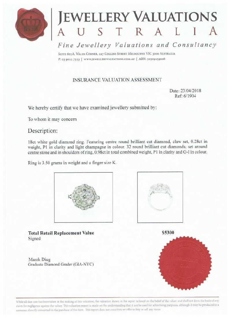 18ct White Gold Ladies 1.26ct Diamond Dress  Ring. - 4