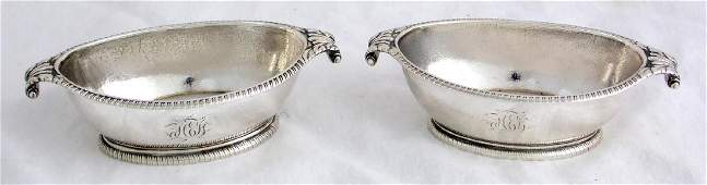 A Rare Pair of George III Sterling Silver Oval Salts