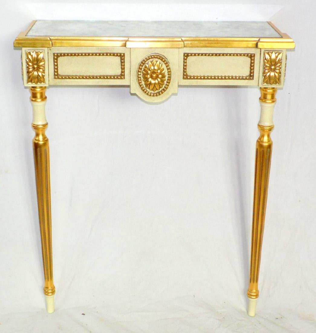 Antique French Style Mirror Top Cream and  Gilt Painted