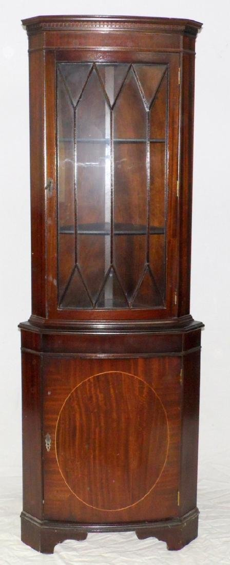 20th Century Mahogany Bowfronted Corner  Display