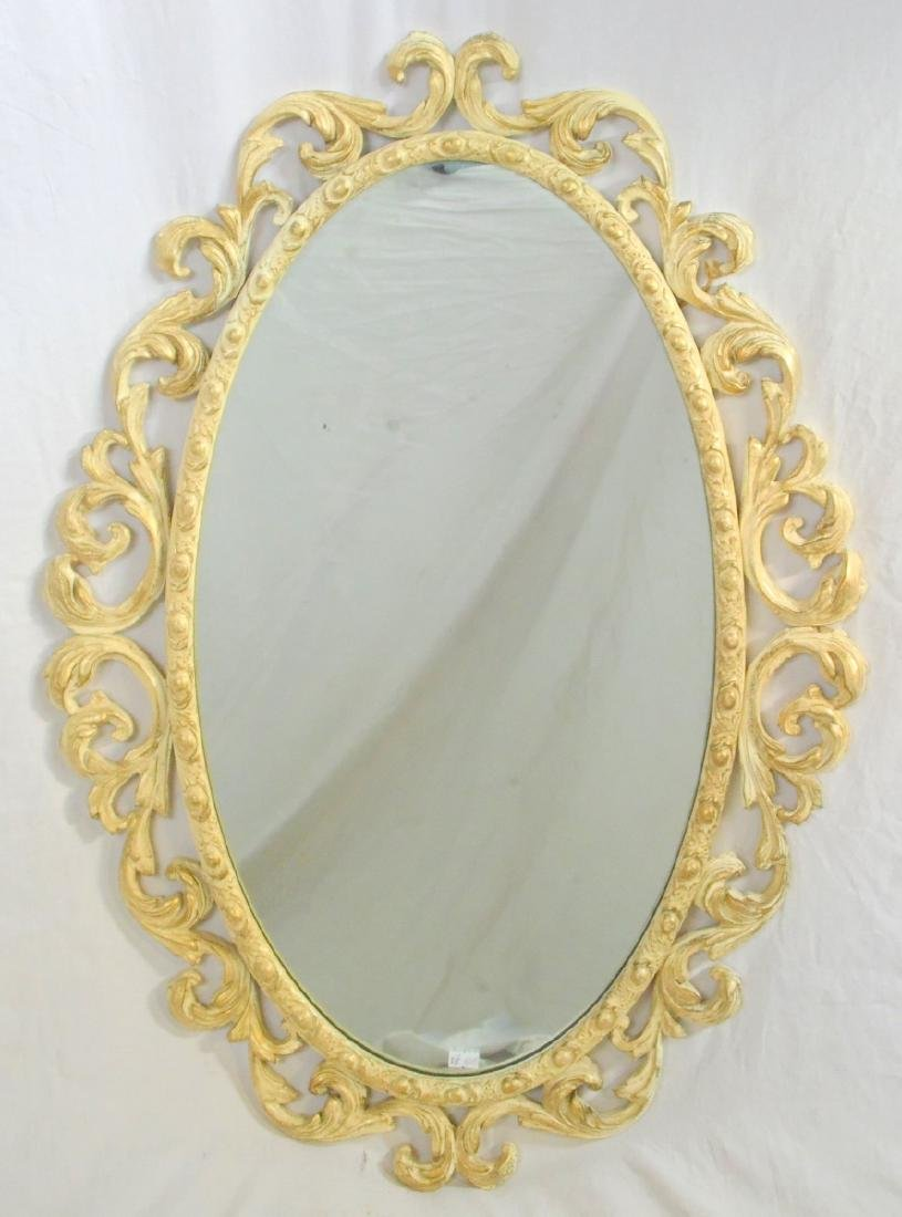 Ornately Carved Painted & Gilt Wood Oval Mirror
