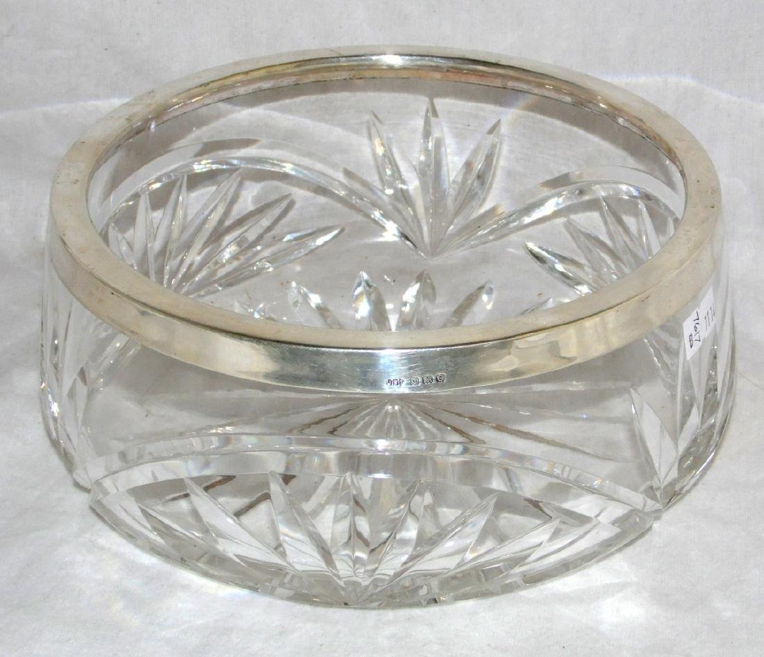 KGV Sterling Silver Mounted Cut Crystal Fruit Bowl
