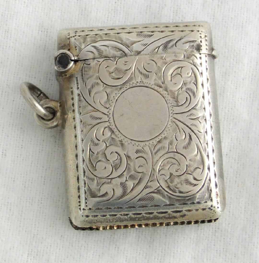 Choice KG V  Engraved Sterling Silver Vesta Case