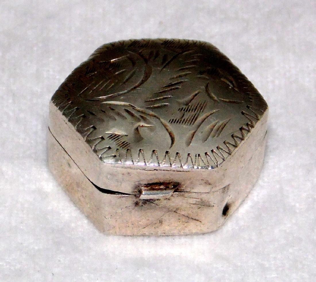 Sterling Silver Hexagonal Engraved Pill Box