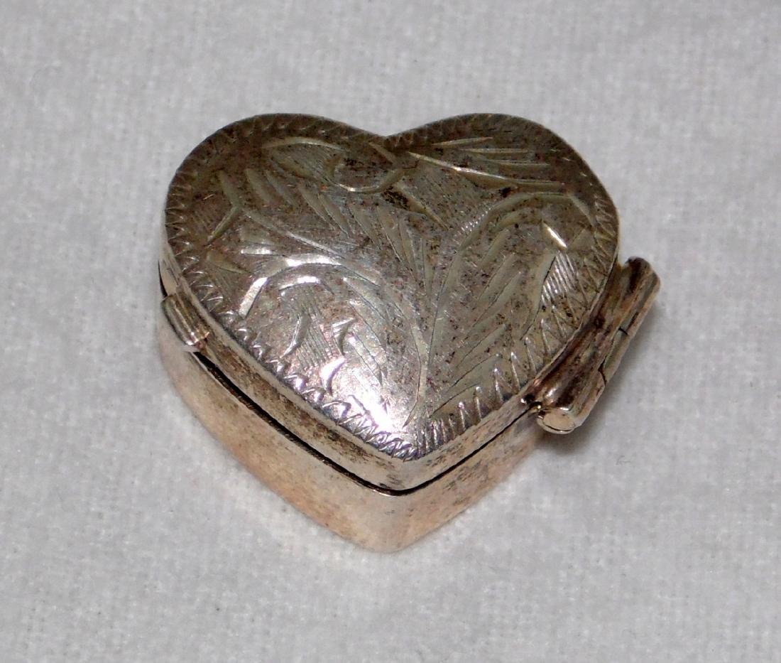 Sterling Silver Engraved Heart Shaped Pill Box