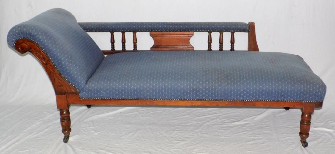 Edwardian Mahogany Carved Chaise Longue c.1910
