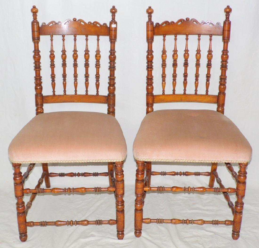 Pair of Turned Victorian Mahogany Side Chairs