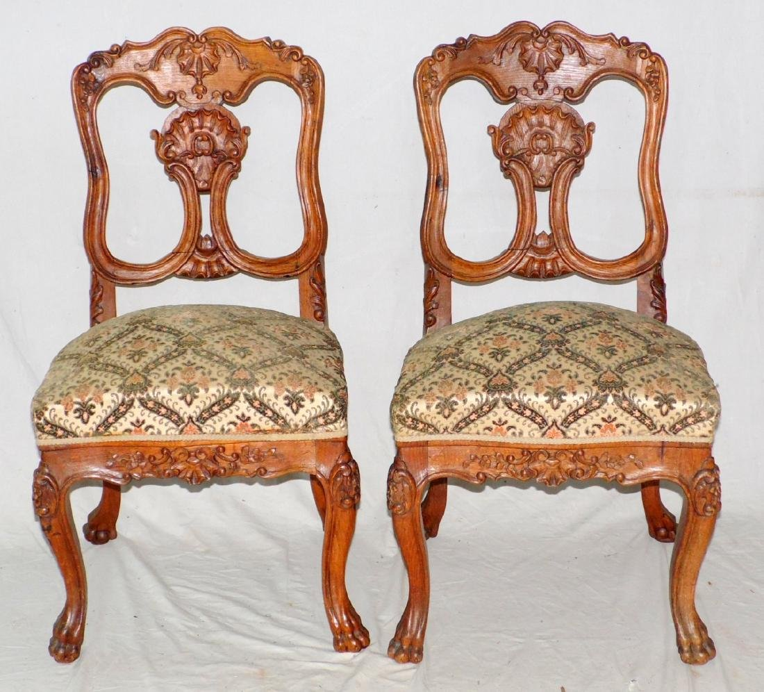 Pair of French Rococo-style Carved Oak Side Chairs