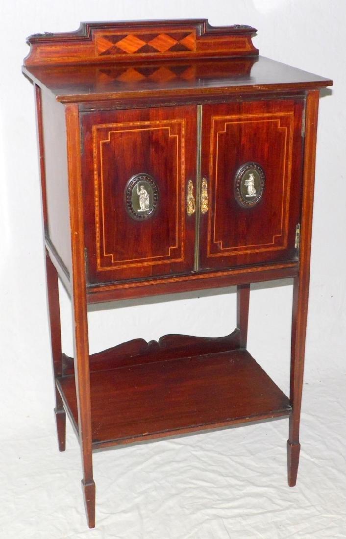 Edwardian Sheraton Revival Inlaid Music Cabinet