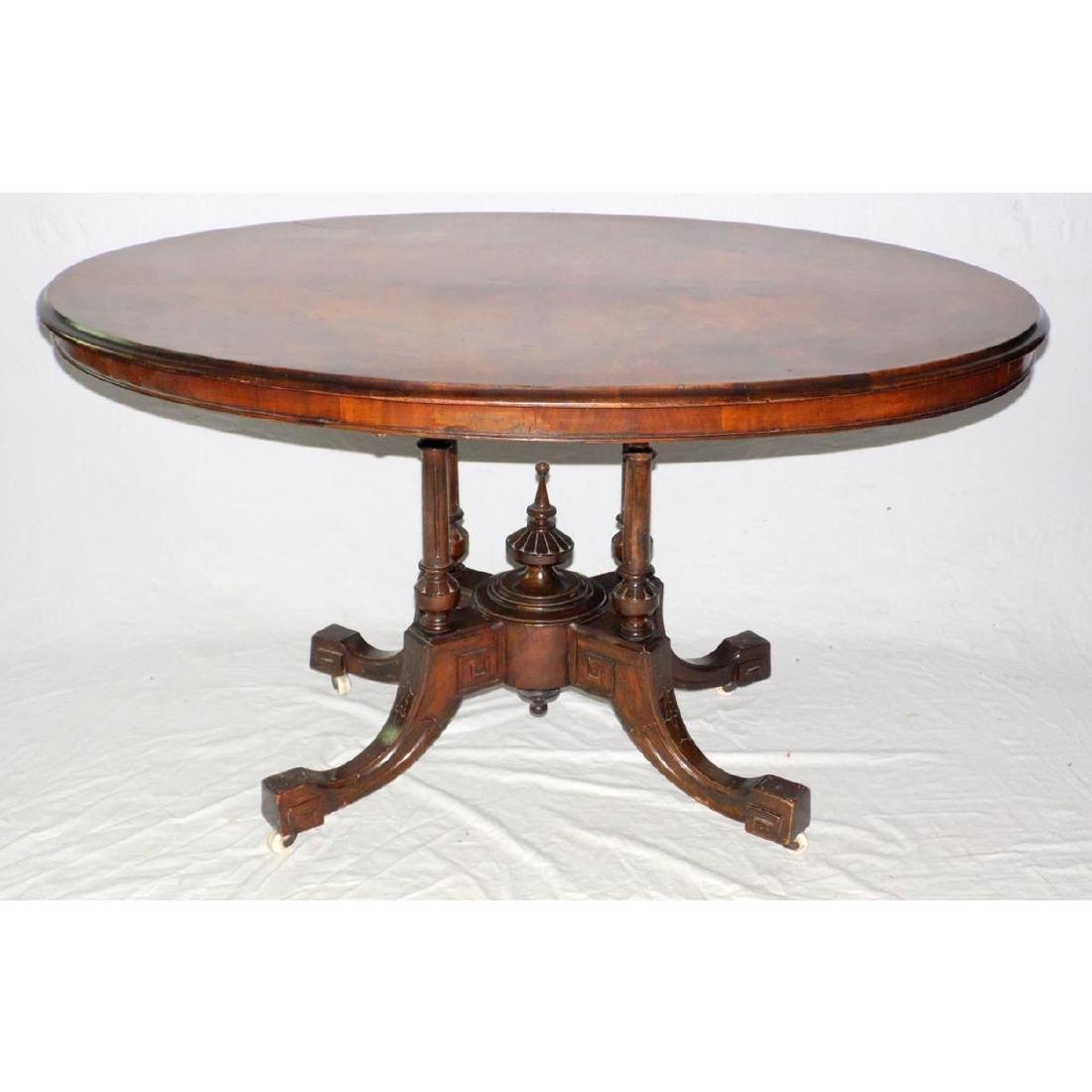 Victorian Burr Walnut Oval Breakfast Loo Table