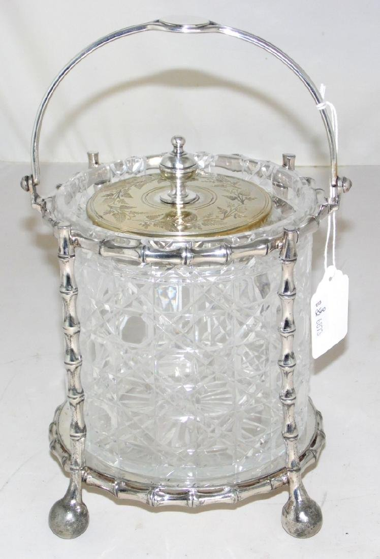 Victorian Silver Plate Bamboo Style Biscuit Barrel