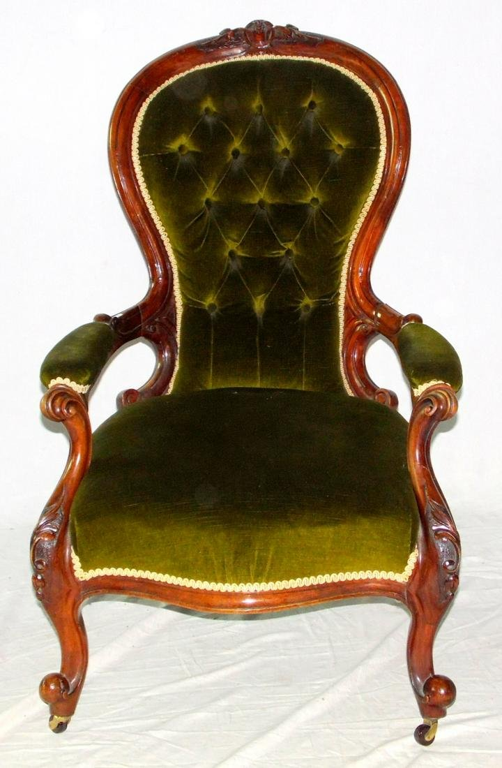 Victorian Carved Walnut Spoon Back Armchair