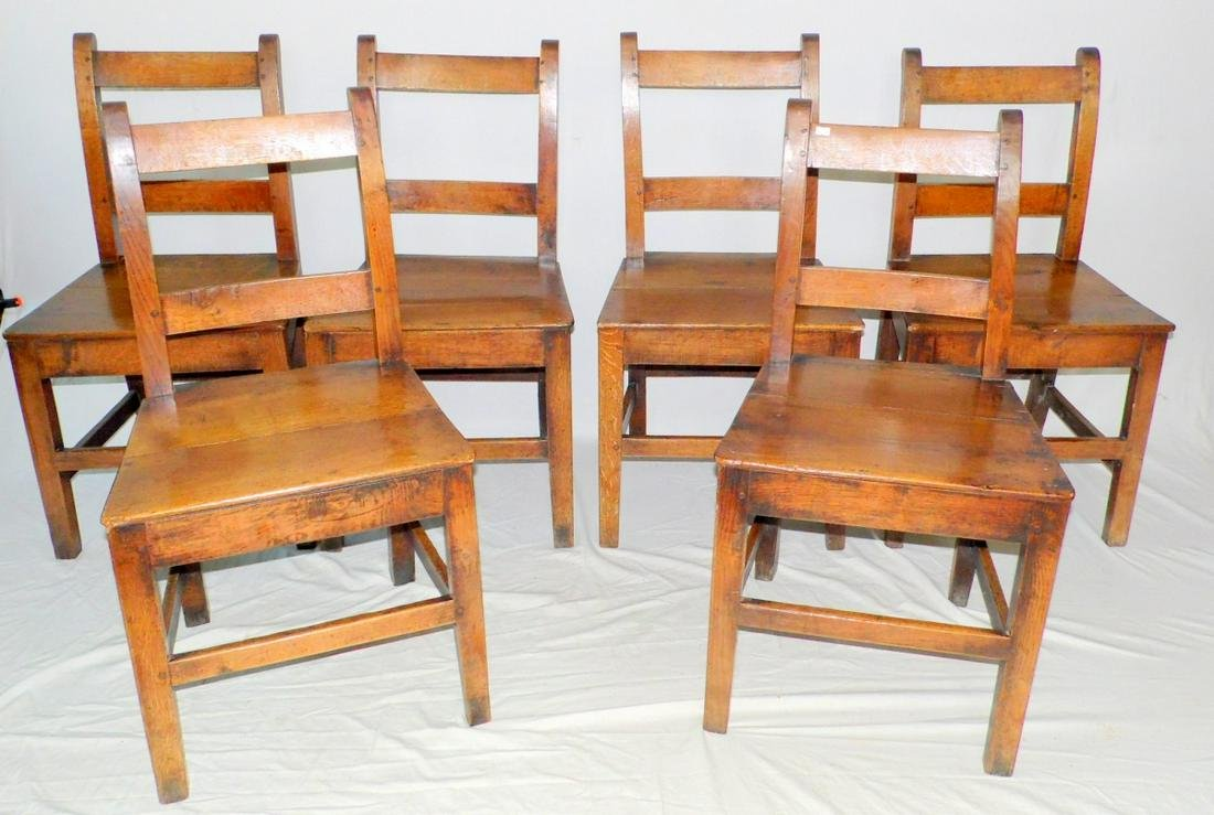 Set of Six Georgian Country Ladder Back Chairs