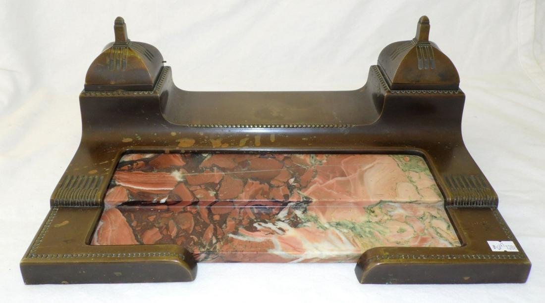 Antique Bronze and Rouge Marble Double Ink Stand