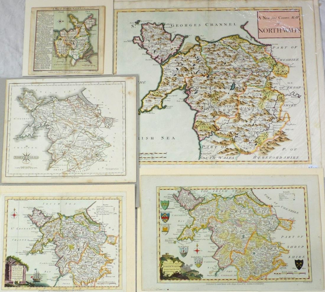 Antique Collection of 5 North Wales Maps