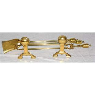 Brass Fire Iron Set and Fire Dogs