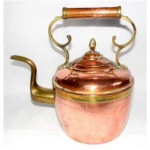 Large Victorian Copper & Brass Kettle