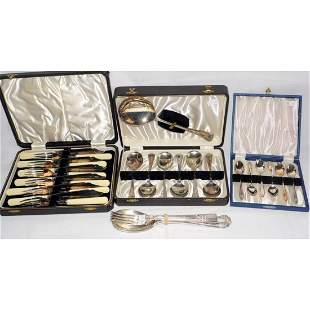 3 Boxed Sets of Silver Plated Cutlery