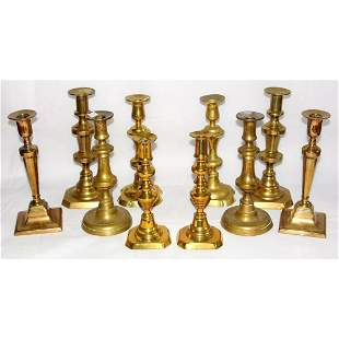 5 Pairs of Antique Brass Candlesticks