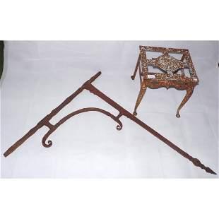 Antique Wrought Iron Inglenook Fireplace Crane