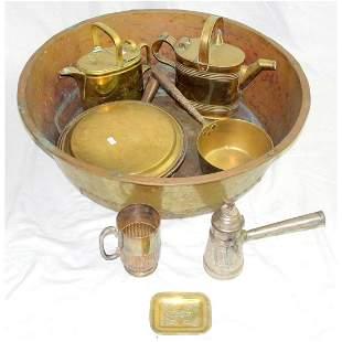Large Antique Copper Bowl Etc.